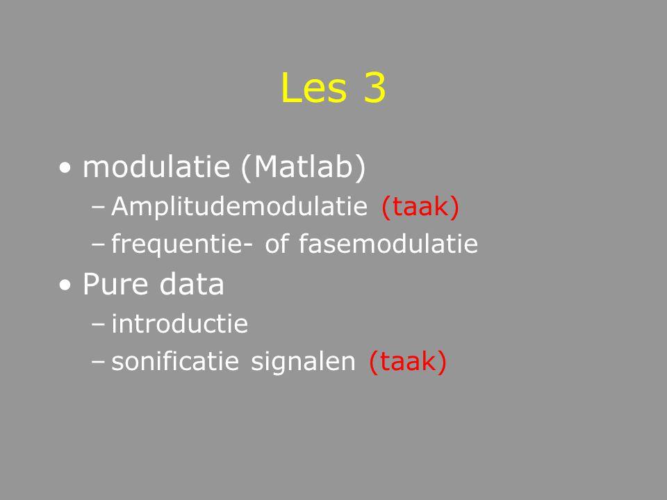 Les 3 modulatie (Matlab) –Amplitudemodulatie (taak) –frequentie- of fasemodulatie Pure data –introductie –sonificatie signalen (taak)