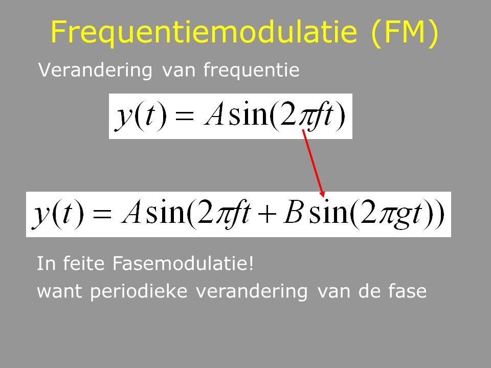 Frequentiemodulatie (FM) Verandering van frequentie In feite Fasemodulatie! want periodieke verandering van de fase