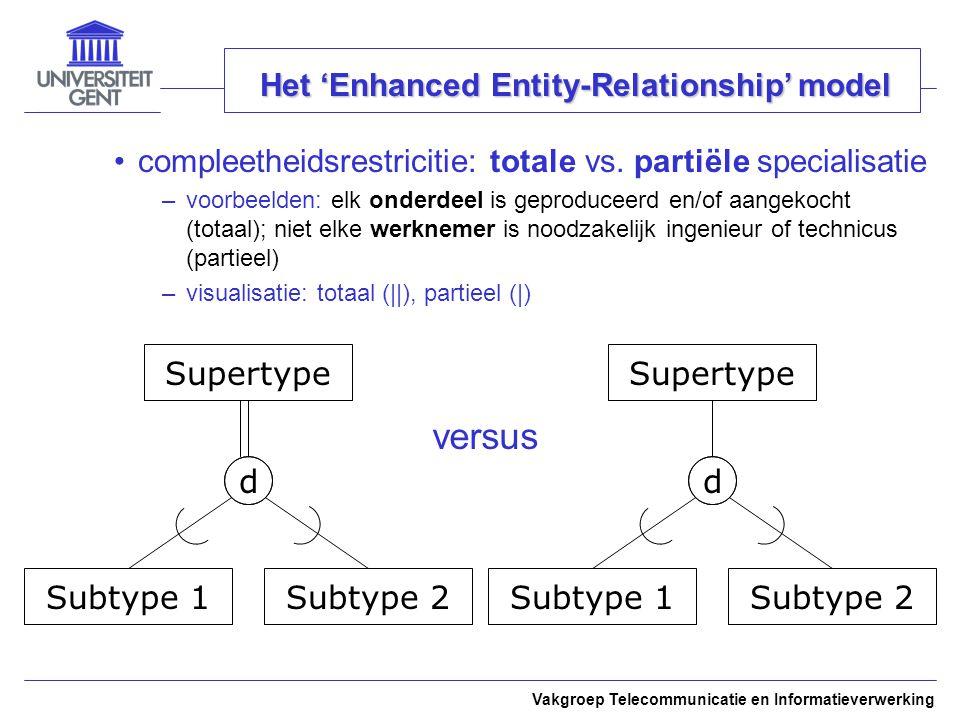 Vakgroep Telecommunicatie en Informatieverwerking Het 'Enhanced Entity-Relationship' model compleetheidsrestricitie: totale vs. partiële specialisatie