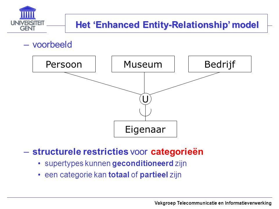Vakgroep Telecommunicatie en Informatieverwerking Het 'Enhanced Entity-Relationship' model –voorbeeld –structurele restricties voor categorieën supertypes kunnen geconditioneerd zijn een categorie kan totaal of partieel zijn PersoonBedrijf Eigenaar U Museum