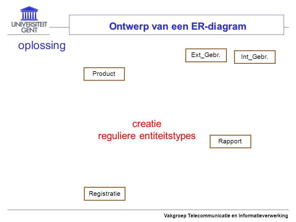 Vakgroep Telecommunicatie en Informatieverwerking Ontwerp van een ER-diagram oplossing ProductExt_Gebr.Int_Gebr.RapportRegistratie creatie reguliere entiteitstypes