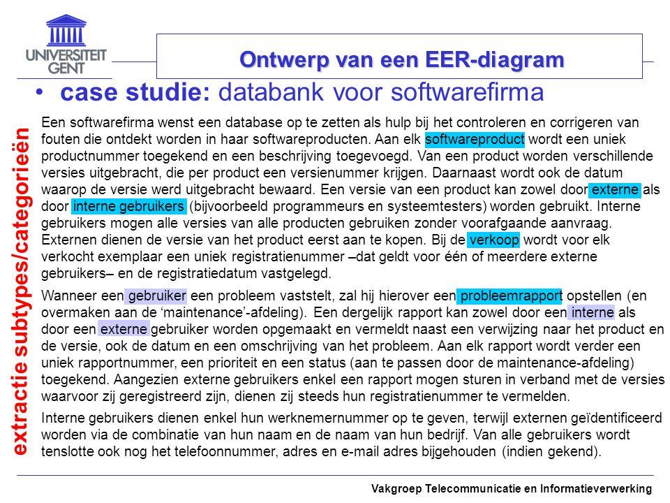 Een softwarefirma wenst een database op te zetten als hulp bij het controleren en corrigeren van fouten die ontdekt worden in haar softwareproducten.