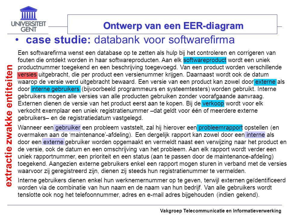 Vakgroep Telecommunicatie en Informatieverwerking Ontwerp van een EER-diagram case studie: databank voor softwarefirma extractie zwakke entiteiten Een