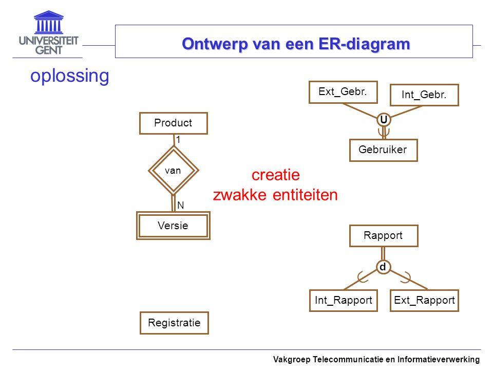 Vakgroep Telecommunicatie en Informatieverwerking Ontwerp van een ER-diagram oplossing ProductExt_Gebr.Int_Gebr.RapportRegistratie creatie zwakke entiteiten  U   d GebruikerInt_RapportExt_Rapport van Versie 1 N