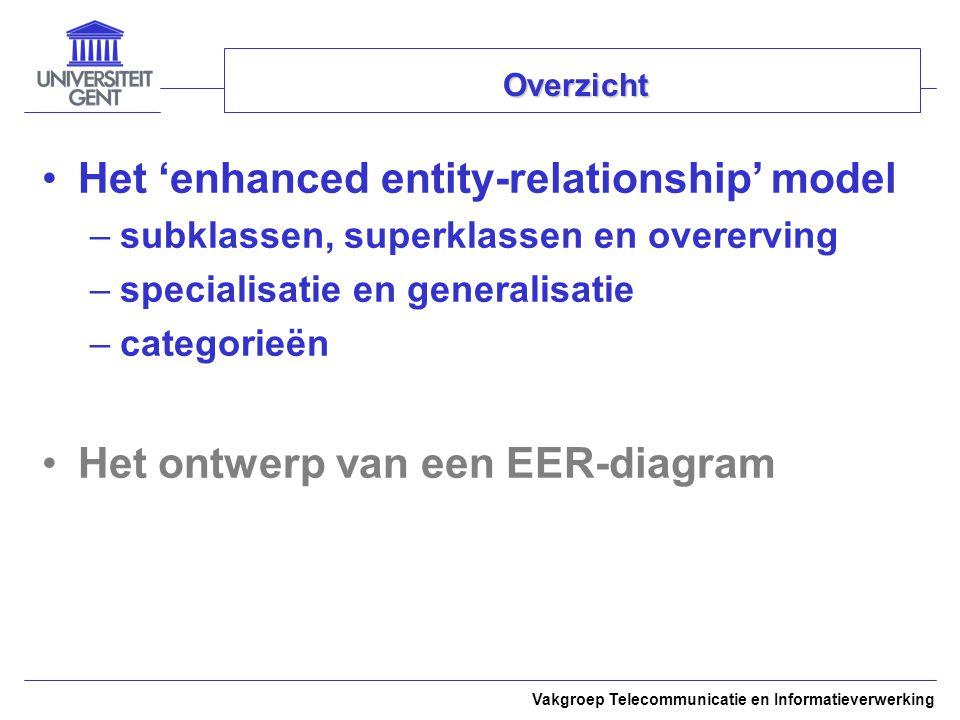Vakgroep Telecommunicatie en Informatieverwerking Overzicht Het 'enhanced entity-relationship' model –subklassen, superklassen en overerving –specialisatie en generalisatie –categorieën Het ontwerp van een EER-diagram