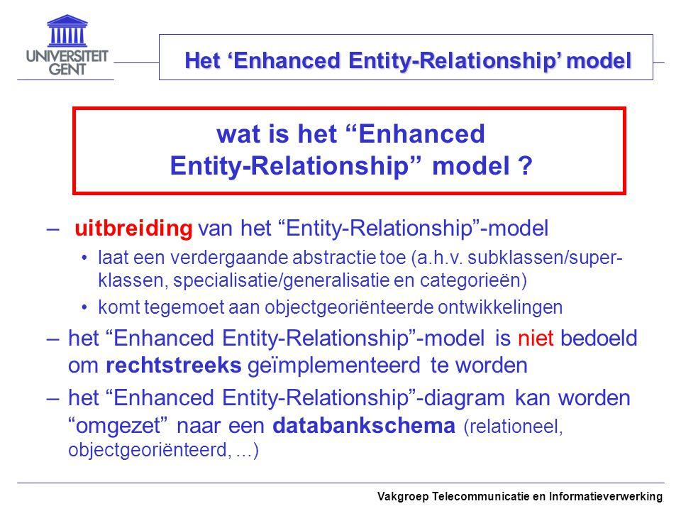 Vakgroep Telecommunicatie en Informatieverwerking Het 'Enhanced Entity-Relationship' model wat is het Enhanced Entity-Relationship model .