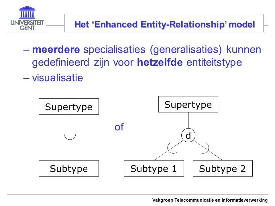 Vakgroep Telecommunicatie en Informatieverwerking Het 'Enhanced Entity-Relationship' model –meerdere specialisaties (generalisaties) kunnen gedefiniee