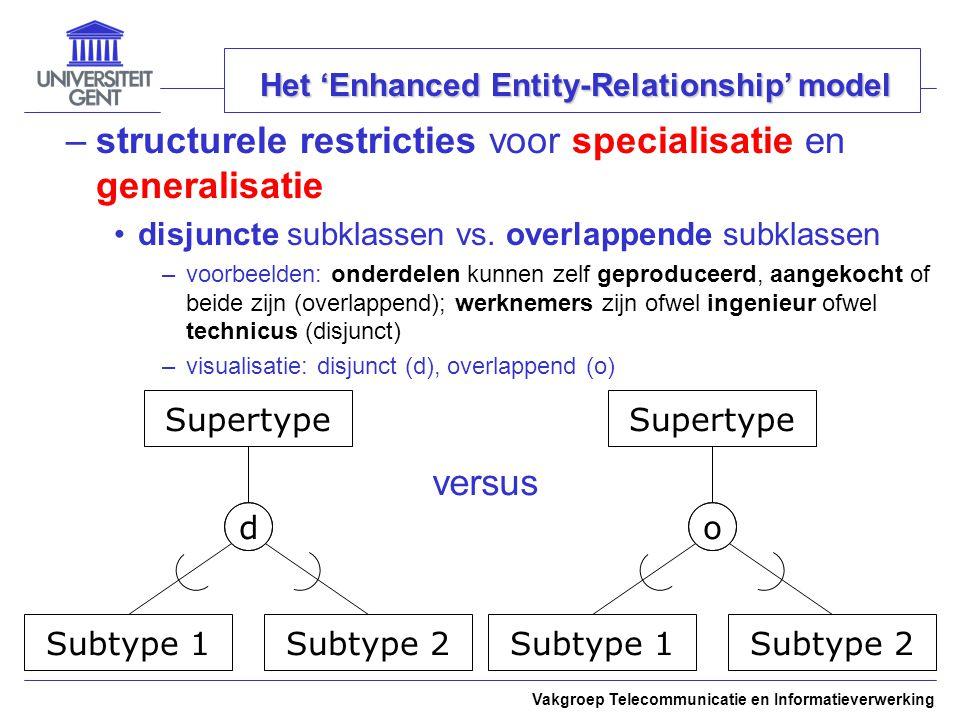 Vakgroep Telecommunicatie en Informatieverwerking Het 'Enhanced Entity-Relationship' model –structurele restricties voor specialisatie en generalisati