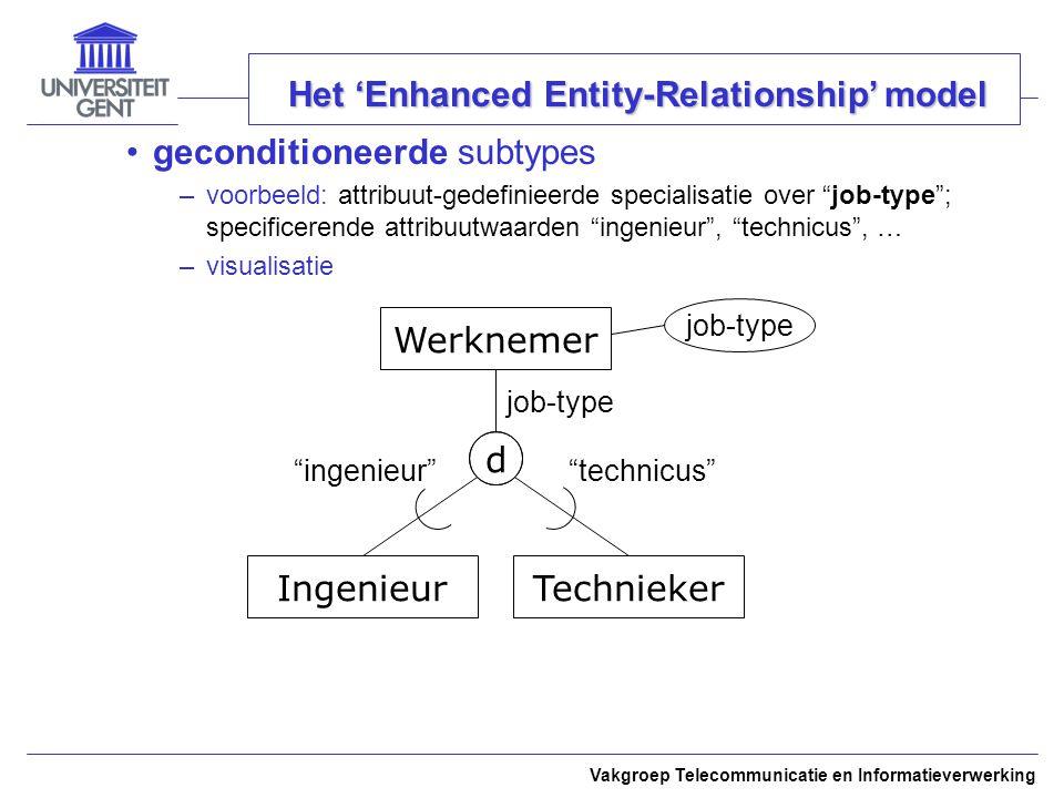 Vakgroep Telecommunicatie en Informatieverwerking Het 'Enhanced Entity-Relationship' model geconditioneerde subtypes –voorbeeld: attribuut-gedefinieerde specialisatie over job-type ; specificerende attribuutwaarden ingenieur , technicus , … –visualisatie Werknemer IngenieurTechnieker d job-type ingenieur technicus job-type