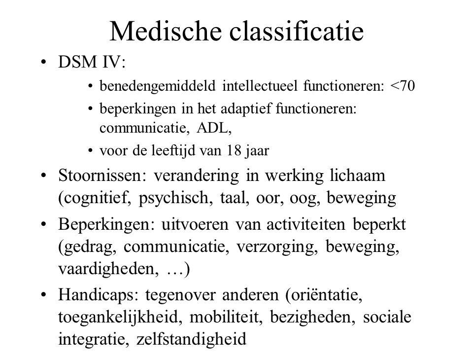 Medische classificatie DSM IV: benedengemiddeld intellectueel functioneren: <70 beperkingen in het adaptief functioneren: communicatie, ADL, voor de leeftijd van 18 jaar Stoornissen: verandering in werking lichaam (cognitief, psychisch, taal, oor, oog, beweging Beperkingen: uitvoeren van activiteiten beperkt (gedrag, communicatie, verzorging, beweging, vaardigheden, …) Handicaps: tegenover anderen (oriëntatie, toegankelijkheid, mobiliteit, bezigheden, sociale integratie, zelfstandigheid