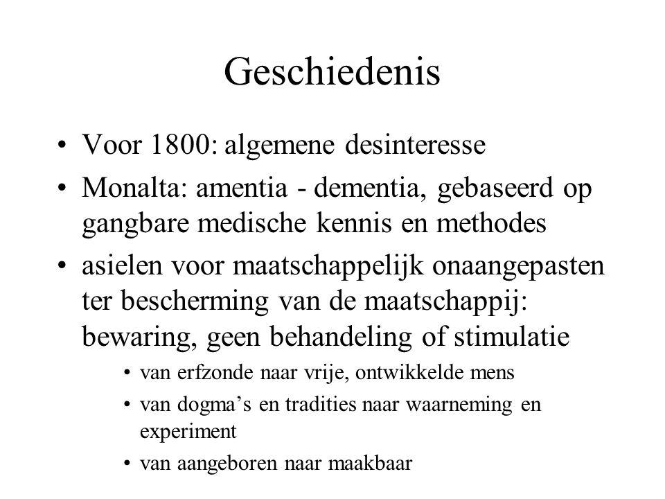 Geschiedenis Voor 1800: algemene desinteresse Monalta: amentia - dementia, gebaseerd op gangbare medische kennis en methodes asielen voor maatschappel