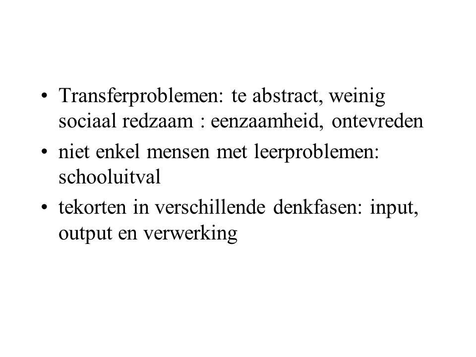 Transferproblemen: te abstract, weinig sociaal redzaam : eenzaamheid, ontevreden niet enkel mensen met leerproblemen: schooluitval tekorten in verschillende denkfasen: input, output en verwerking