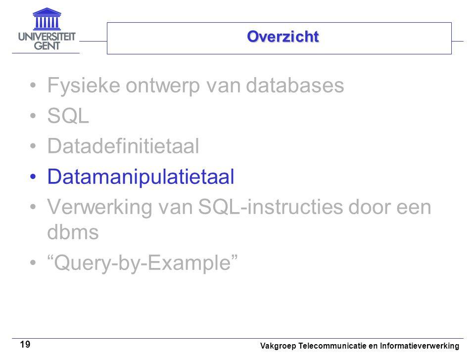 Vakgroep Telecommunicatie en Informatieverwerking 19 Overzicht Fysieke ontwerp van databases SQL Datadefinitietaal Datamanipulatietaal Verwerking van
