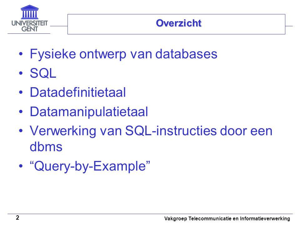 Vakgroep Telecommunicatie en Informatieverwerking 2 Overzicht Fysieke ontwerp van databases SQL Datadefinitietaal Datamanipulatietaal Verwerking van S