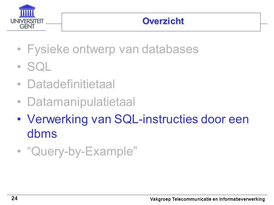 Vakgroep Telecommunicatie en Informatieverwerking 24 Overzicht Fysieke ontwerp van databases SQL Datadefinitietaal Datamanipulatietaal Verwerking van