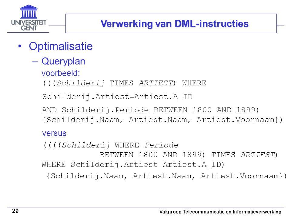 Vakgroep Telecommunicatie en Informatieverwerking 29 Optimalisatie –Queryplan voorbeeld : (((Schilderij TIMES ARTIEST) WHERE Schilderij.Artiest=Arties