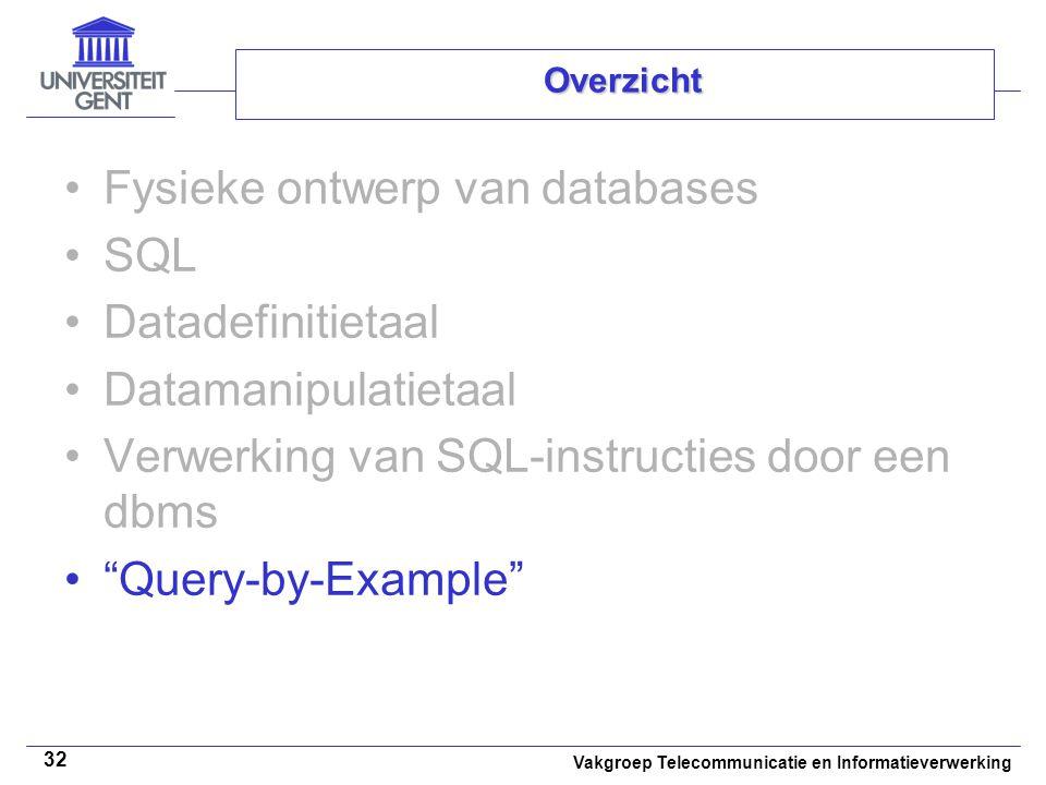 Vakgroep Telecommunicatie en Informatieverwerking 32 Overzicht Fysieke ontwerp van databases SQL Datadefinitietaal Datamanipulatietaal Verwerking van