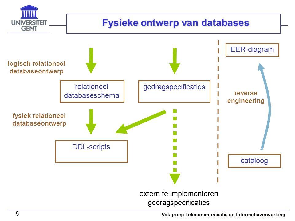 Vakgroep Telecommunicatie en Informatieverwerking 5 Fysieke ontwerp van databases fysiek relationeel databaseontwerp DDL-scripts logisch relationeel d