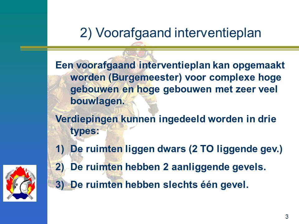 3 2) Voorafgaand interventieplan Een voorafgaand interventieplan kan opgemaakt worden (Burgemeester) voor complexe hoge gebouwen en hoge gebouwen met