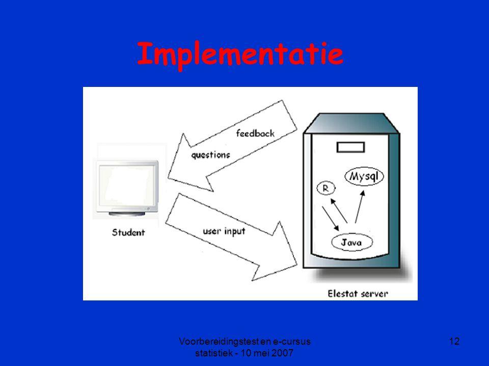 Voorbereidingstest en e-cursus statistiek - 10 mei 2007 12 Implementatie