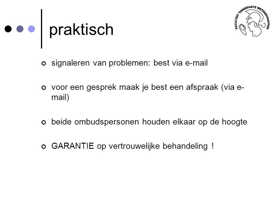 praktisch signaleren van problemen: best via e-mail voor een gesprek maak je best een afspraak (via e- mail) beide ombudspersonen houden elkaar op de