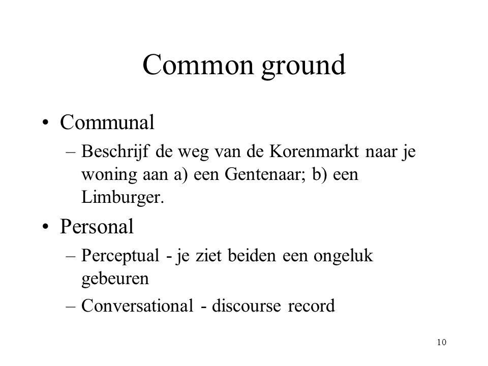 10 Common ground Communal –Beschrijf de weg van de Korenmarkt naar je woning aan a) een Gentenaar; b) een Limburger. Personal –Perceptual - je ziet be