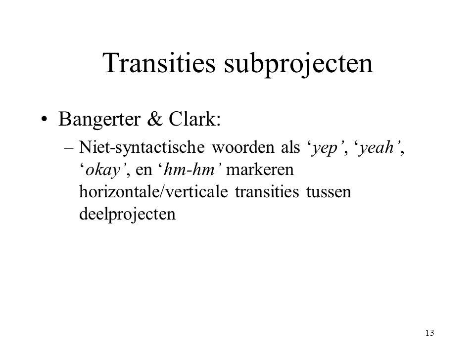 13 Transities subprojecten Bangerter & Clark: –Niet-syntactische woorden als 'yep', 'yeah', 'okay', en 'hm-hm' markeren horizontale/verticale transiti