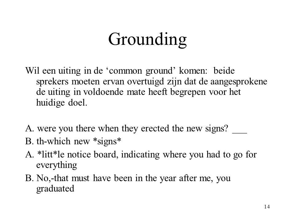 14 Grounding Wil een uiting in de 'common ground' komen: beide sprekers moeten ervan overtuigd zijn dat de aangesprokene de uiting in voldoende mate h