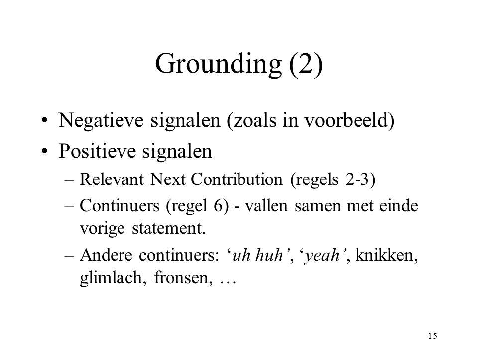 15 Grounding (2) Negatieve signalen (zoals in voorbeeld) Positieve signalen –Relevant Next Contribution (regels 2-3) –Continuers (regel 6) - vallen sa