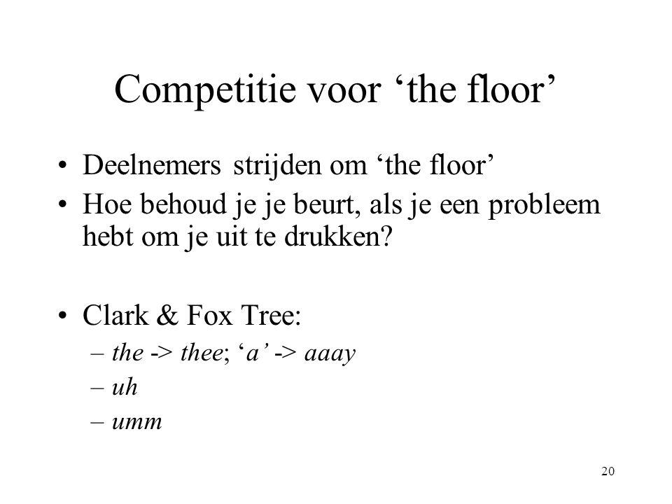 20 Competitie voor 'the floor' Deelnemers strijden om 'the floor' Hoe behoud je je beurt, als je een probleem hebt om je uit te drukken? Clark & Fox T
