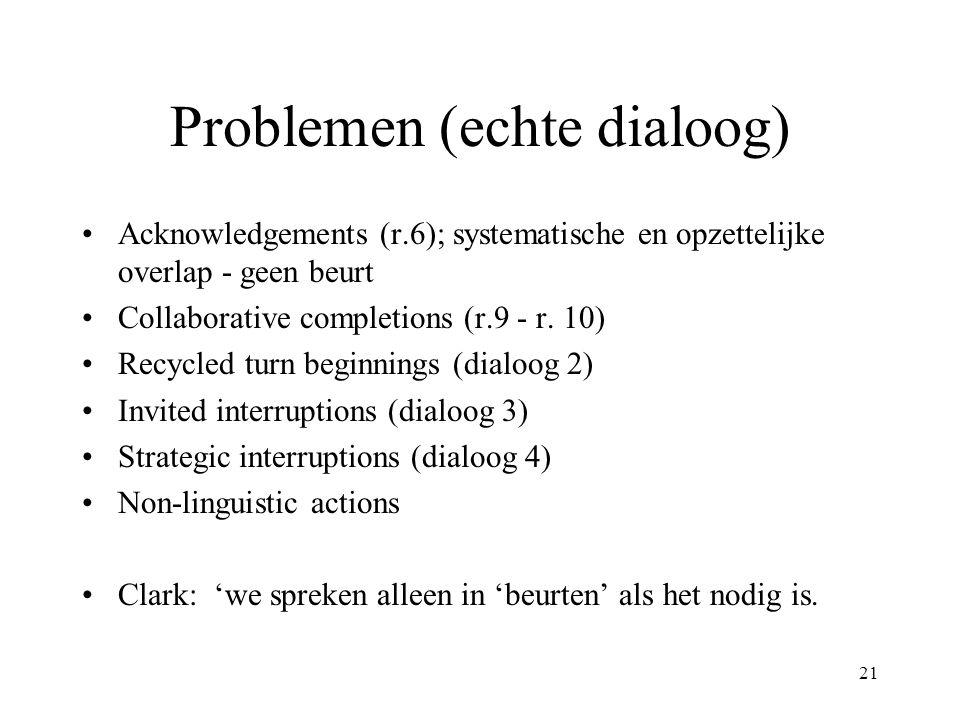 21 Problemen (echte dialoog) Acknowledgements (r.6); systematische en opzettelijke overlap - geen beurt Collaborative completions (r.9 - r. 10) Recycl