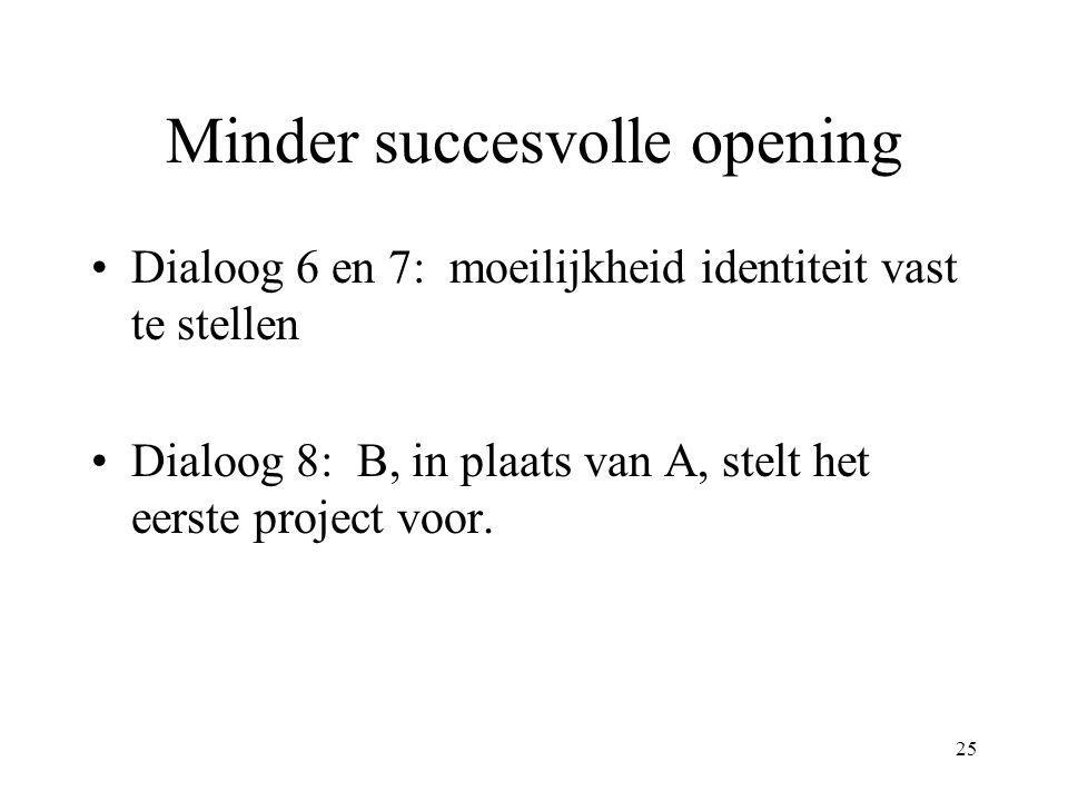 25 Minder succesvolle opening Dialoog 6 en 7: moeilijkheid identiteit vast te stellen Dialoog 8: B, in plaats van A, stelt het eerste project voor.