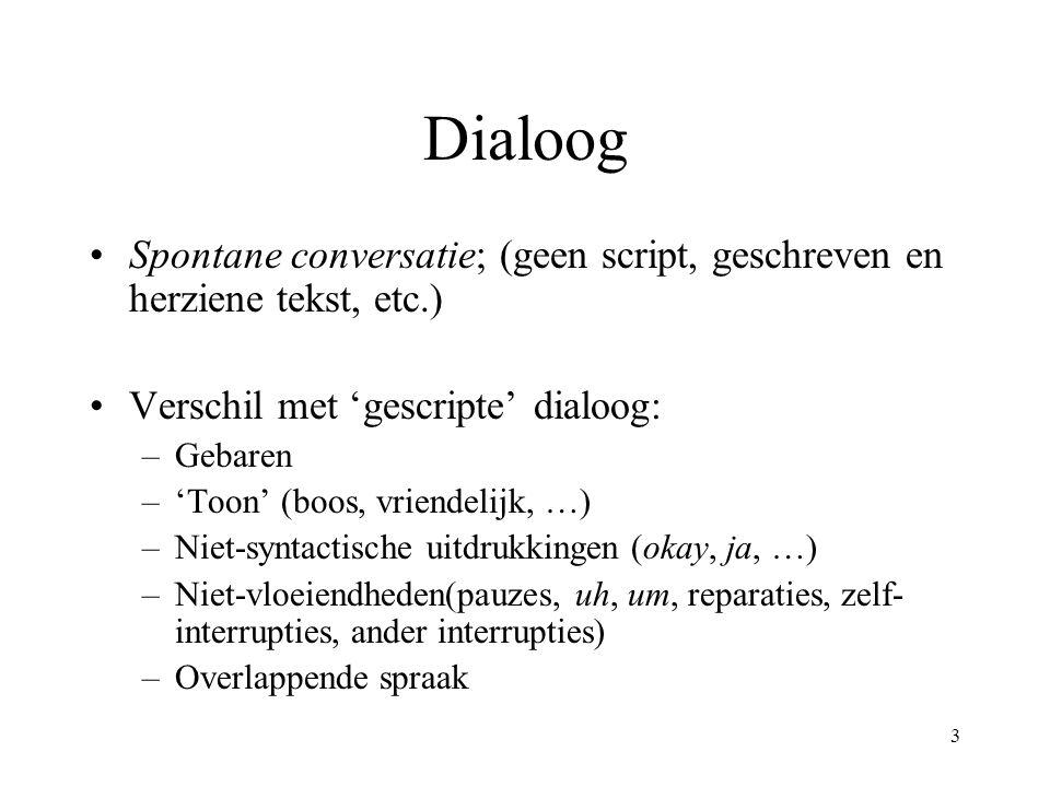 3 Dialoog Spontane conversatie; (geen script, geschreven en herziene tekst, etc.) Verschil met 'gescripte' dialoog: –Gebaren –'Toon' (boos, vriendelij