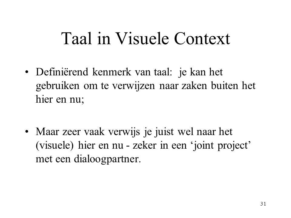 31 Taal in Visuele Context Definiërend kenmerk van taal: je kan het gebruiken om te verwijzen naar zaken buiten het hier en nu; Maar zeer vaak verwijs