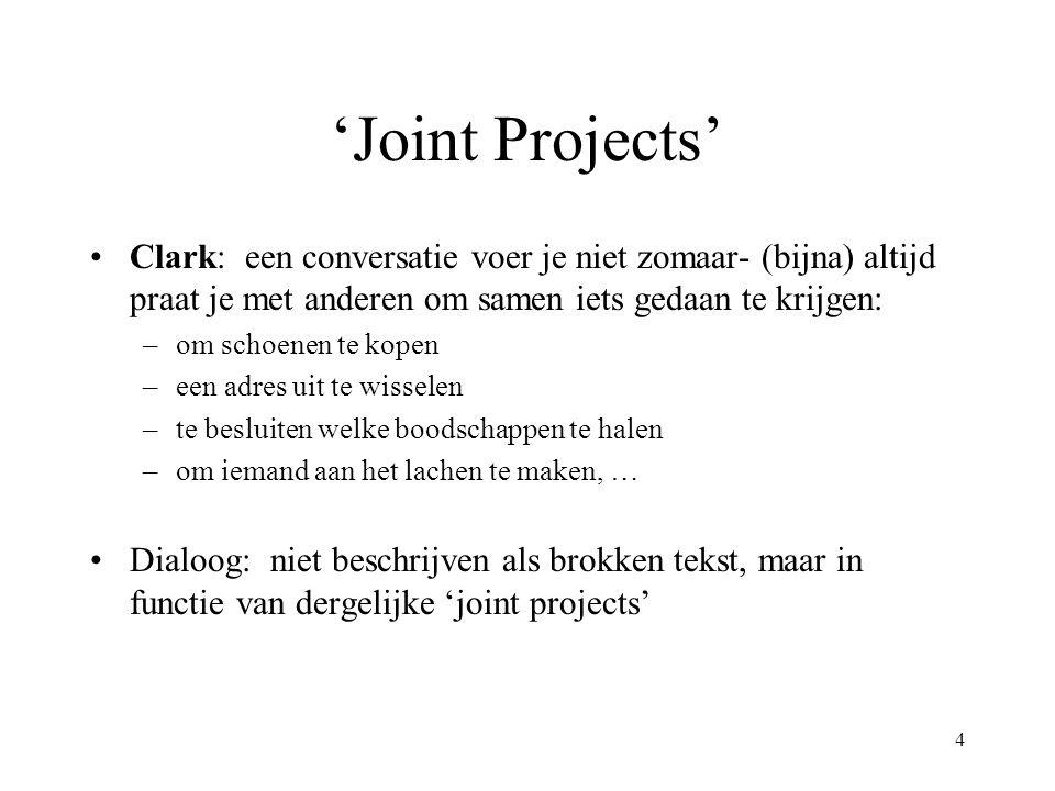4 'Joint Projects' Clark: een conversatie voer je niet zomaar- (bijna) altijd praat je met anderen om samen iets gedaan te krijgen: –om schoenen te ko