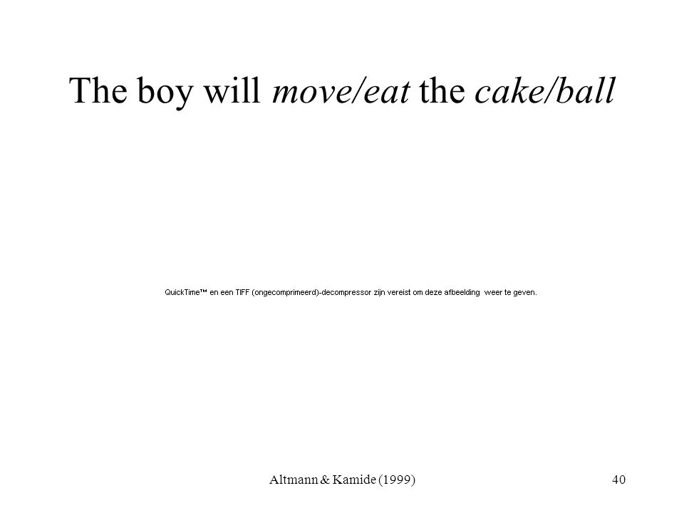 Altmann & Kamide (1999)40 The boy will move/eat the cake/ball
