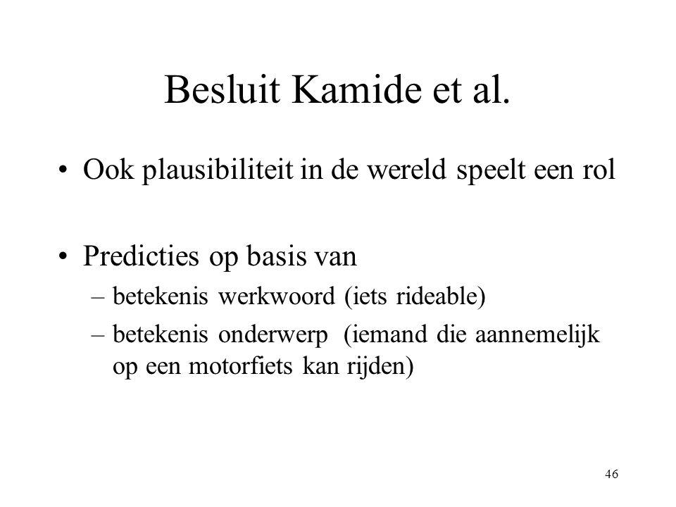 46 Besluit Kamide et al. Ook plausibiliteit in de wereld speelt een rol Predicties op basis van –betekenis werkwoord (iets rideable) –betekenis onderw