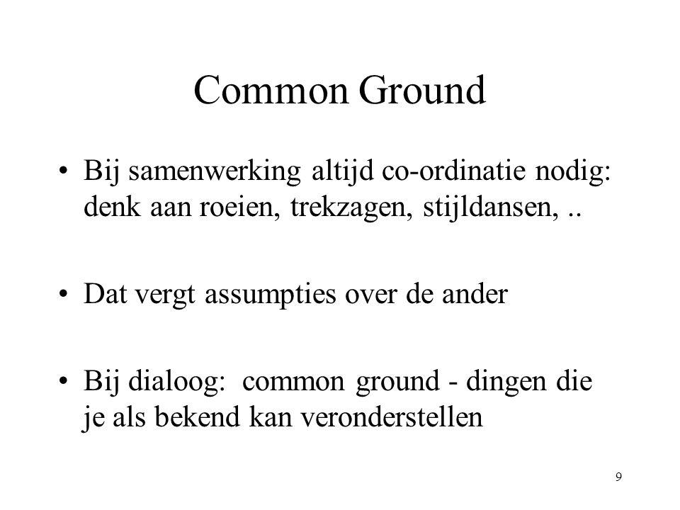 9 Common Ground Bij samenwerking altijd co-ordinatie nodig: denk aan roeien, trekzagen, stijldansen,.. Dat vergt assumpties over de ander Bij dialoog: