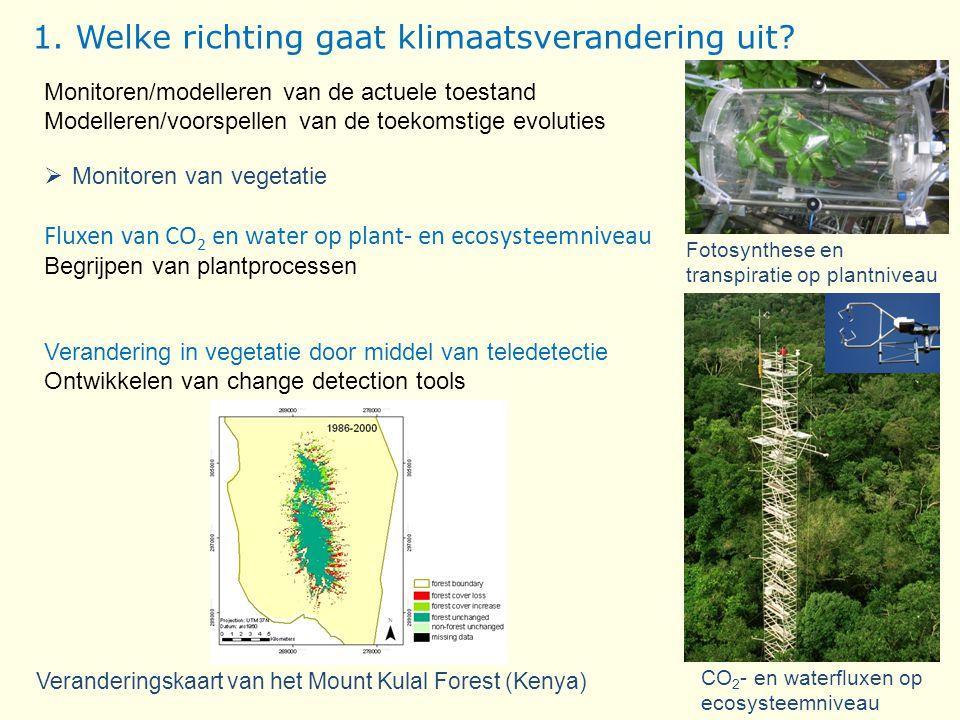 Veranderingskaart van het Mount Kulal Forest (Kenya) Monitoren/modelleren van de actuele toestand Modelleren/voorspellen van de toekomstige evoluties  Monitoren van vegetatie Fluxen van CO 2 en water op plant- en ecosysteemniveau Begrijpen van plantprocessen Verandering in vegetatie door middel van teledetectie Ontwikkelen van change detection tools Fotosynthese en transpiratie op plantniveau CO 2 - en waterfluxen op ecosysteemniveau 1.