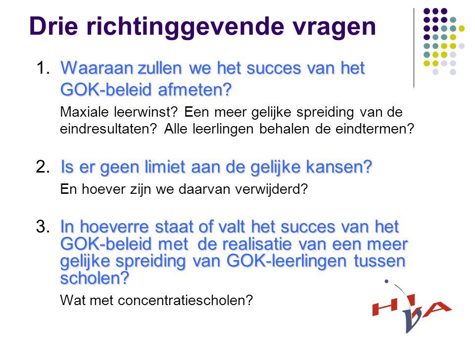 Drie richtinggevende vragen Waaraan zullen we het succes van het 1.