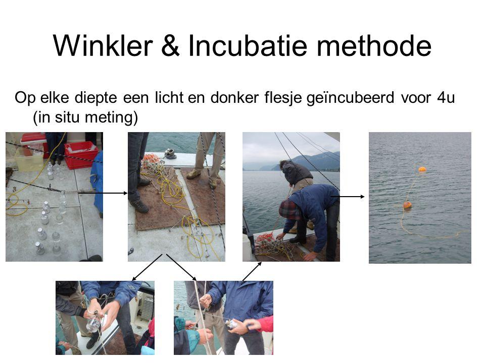 Winkler & Incubatie methode Op elke diepte een licht en donker flesje geïncubeerd voor 4u (in situ meting)