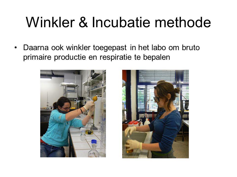 Winkler & Incubatie methode Daarna ook winkler toegepast in het labo om bruto primaire productie en respiratie te bepalen