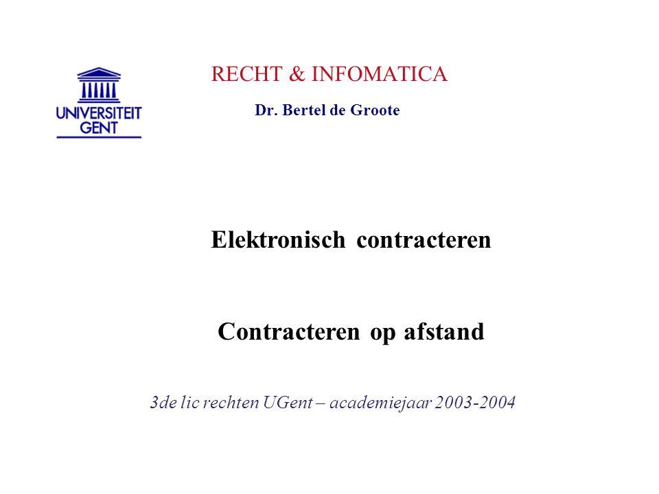 RECHT & INFOMATICA 3de lic rechten UGent – academiejaar 2003-2004 Dr. Bertel de Groote Elektronisch contracteren Contracteren op afstand