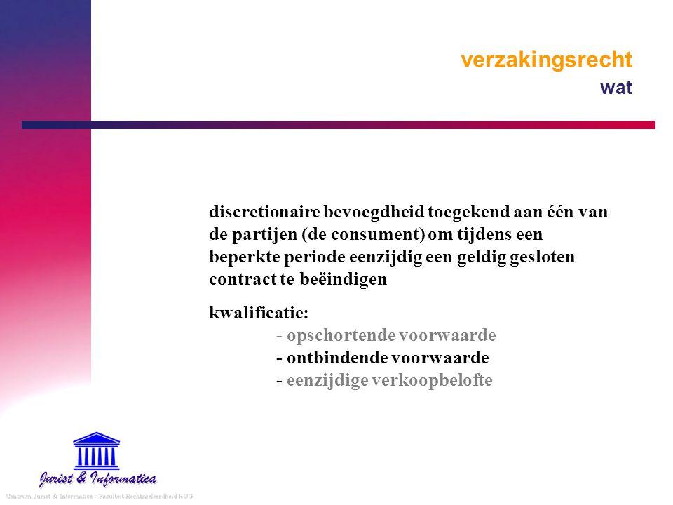 verzakingsrecht wat discretionaire bevoegdheid toegekend aan één van de partijen (de consument) om tijdens een beperkte periode eenzijdig een geldig g