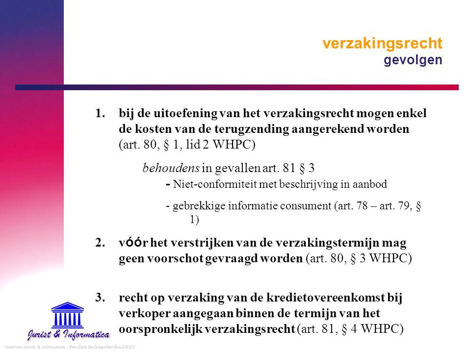 verzakingsrecht gevolgen 1.bij de uitoefening van het verzakingsrecht mogen enkel de kosten van de terugzending aangerekend worden (art. 80, § 1, lid