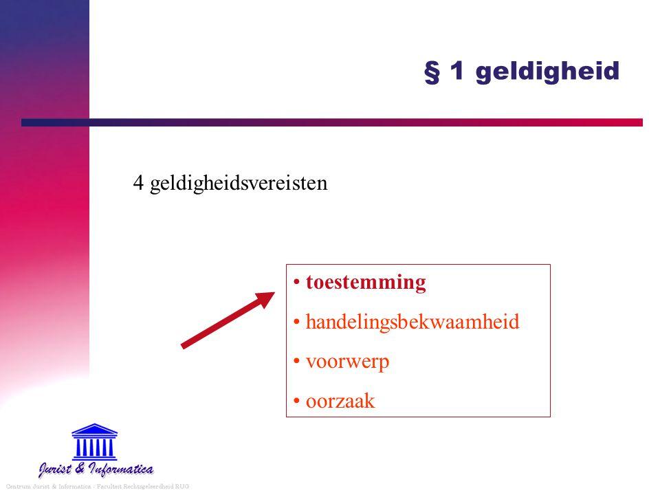 § 1 geldigheid 4 geldigheidsvereisten toestemming handelingsbekwaamheid voorwerp oorzaak