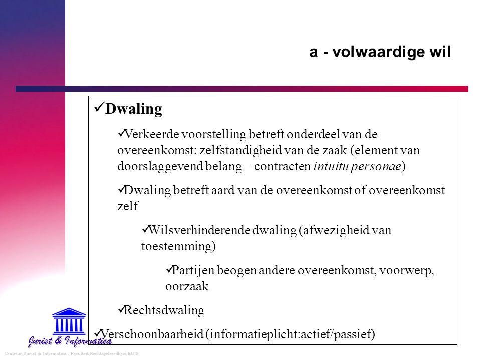 a - volwaardige wil Dwaling Verkeerde voorstelling betreft onderdeel van de overeenkomst: zelfstandigheid van de zaak (element van doorslaggevend bela
