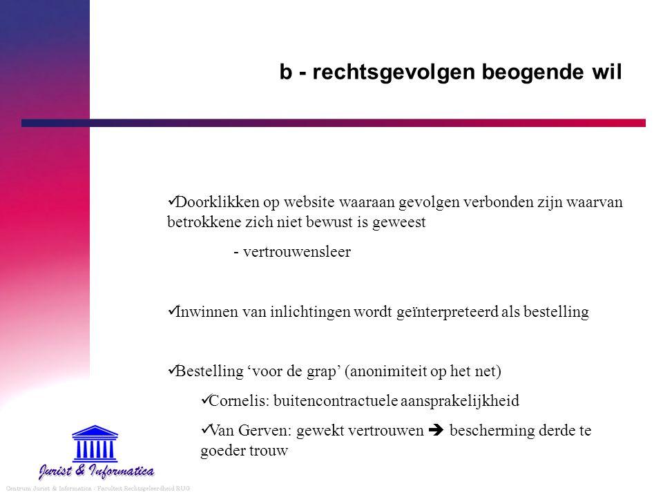 b - rechtsgevolgen beogende wil Doorklikken op website waaraan gevolgen verbonden zijn waarvan betrokkene zich niet bewust is geweest - vertrouwenslee