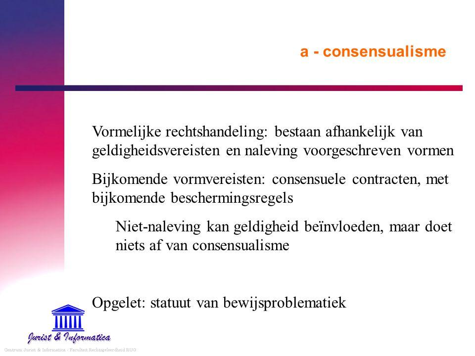 a - consensualisme Vormelijke rechtshandeling: bestaan afhankelijk van geldigheidsvereisten en naleving voorgeschreven vormen Bijkomende vormvereisten