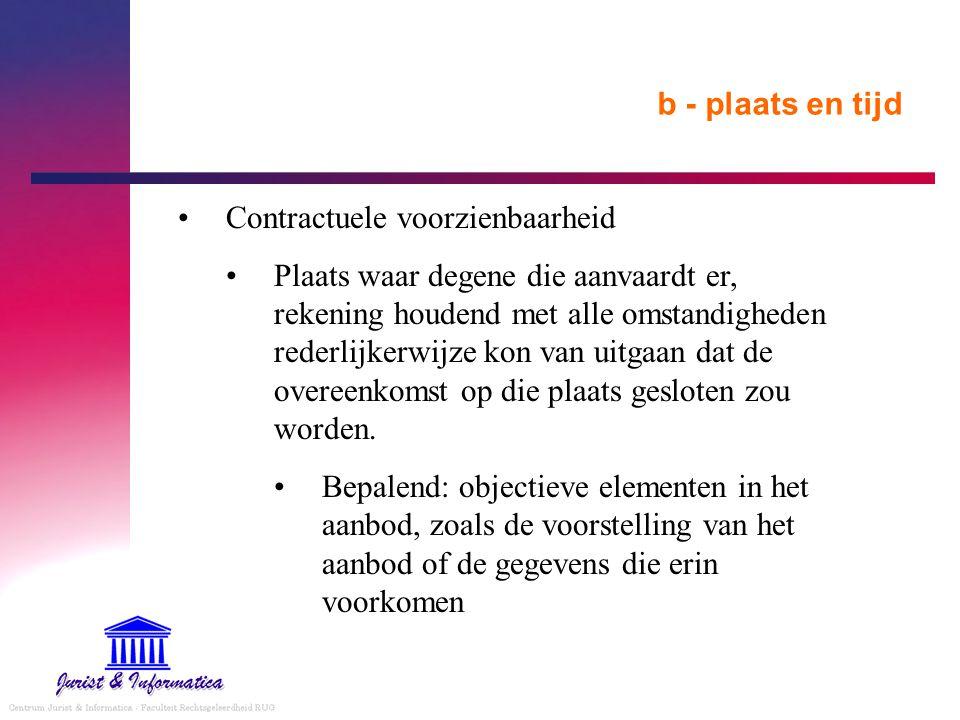 b - plaats en tijd Contractuele voorzienbaarheid Plaats waar degene die aanvaardt er, rekening houdend met alle omstandigheden rederlijkerwijze kon va